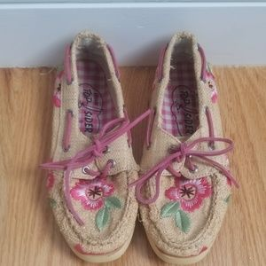 Womens pink flower sperry top-siders 6.5